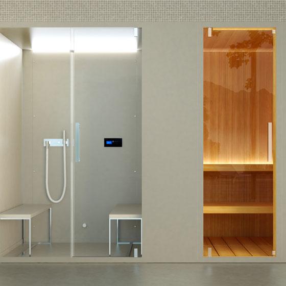 Box doccia con sauna installato ms spagnesi for Doccia sauna